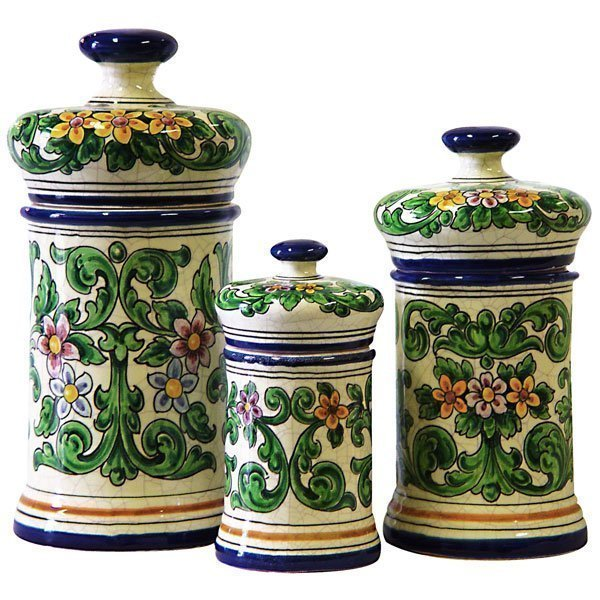Hand Painted Three Piece Ceramic Canister Set From Spain