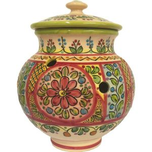 Hand Painted Ceramic Garlic Jar from Spain
