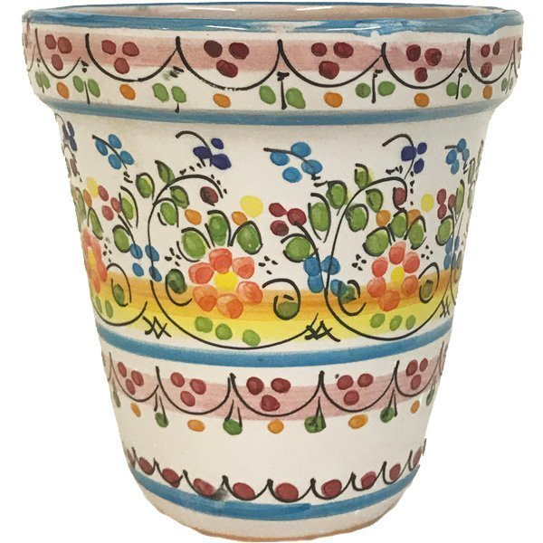 4 Inch Ceramic Flower Pot Colored Dot