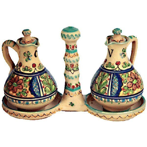 Ceramic Oil and Vinegar Cruet from Spain