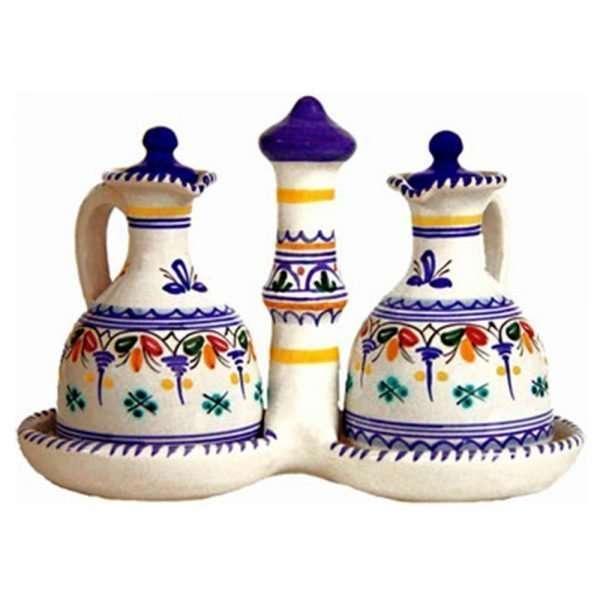Hand Painted Ceramic Oil & Vinegar Cruet.  Multicolor
