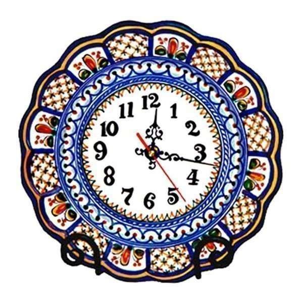 Hand Painted Ceramic Wall Clock.  Multicolor