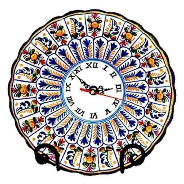 "Hand Painted Ceramic ""Peacock"" Wall Clock.  Multicolor"