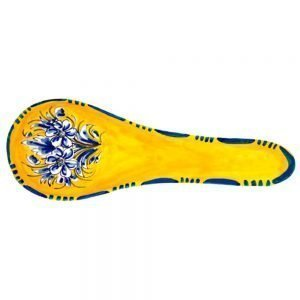 Hand Painted Ceramic Spoon Rest.  Fiesta Yellow