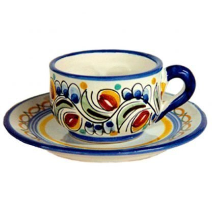 Hand Painted Ceramic Espresso Cup & Saucer.  Set of 2.  Multicolor