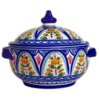 Hand Painted Ceramic Covered Tureen.  Multicolor