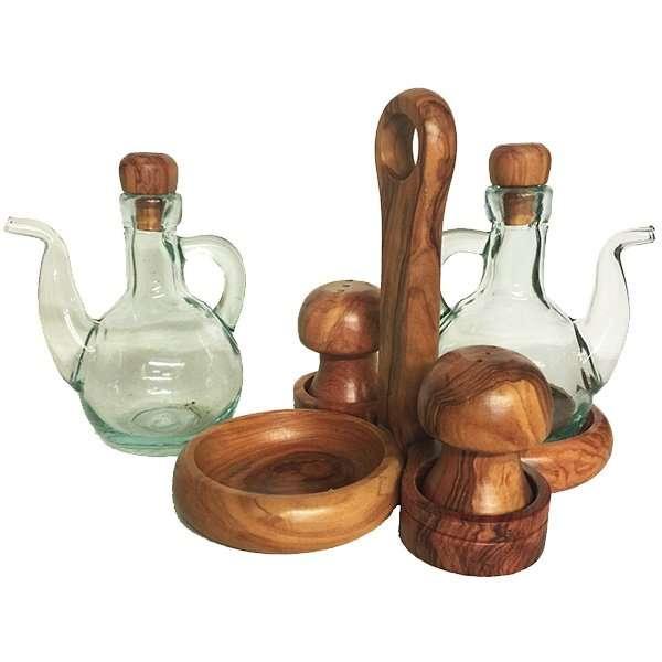 Olive Wood Oil Vinegar Cruet Set