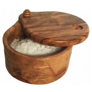 olive wood salt box from Spain