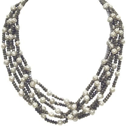 Pearl and Gray Crystal Necklace