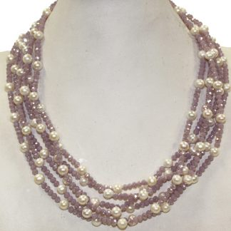 Pearl and Mauve Crystal Necklace