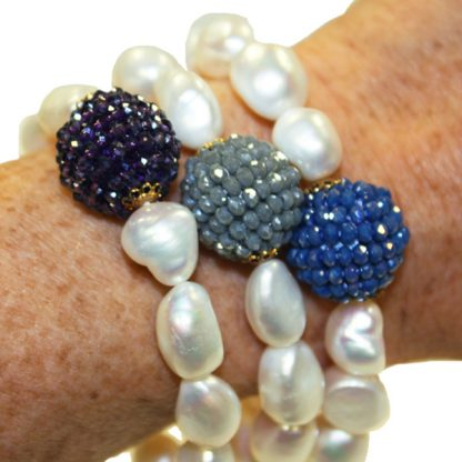 Handmade Pearl and Crystal Bracelet