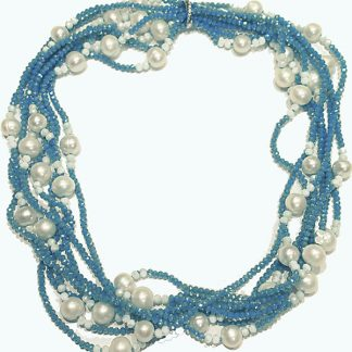 Blue Crystal and Pearl Necklace from Spain