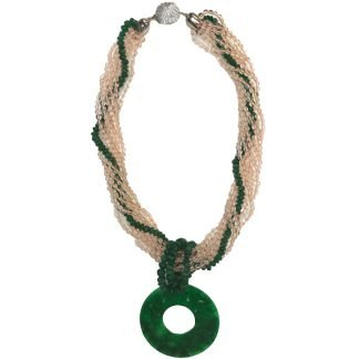 Quartz and Jade Handmade Necklace