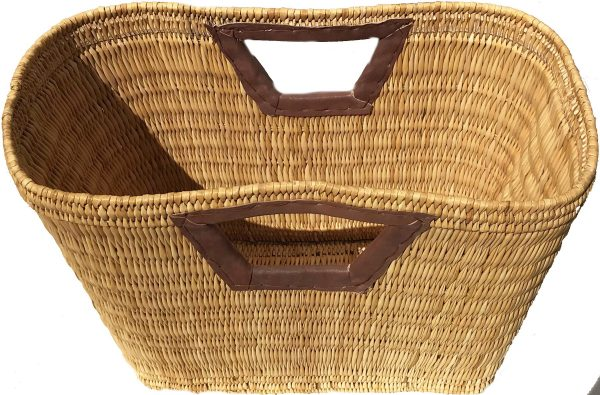 Leather handled wicker beach tote